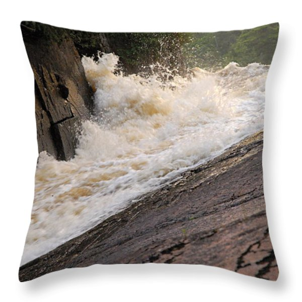 Rebecca Falls At Sunset Throw Pillow by Larry Ricker