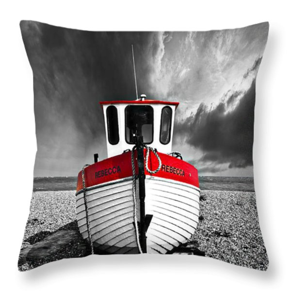 rebecca wearing just red Throw Pillow by Meirion Matthias