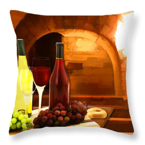Red and White in the Cellar Throw Pillow by Elaine Plesser