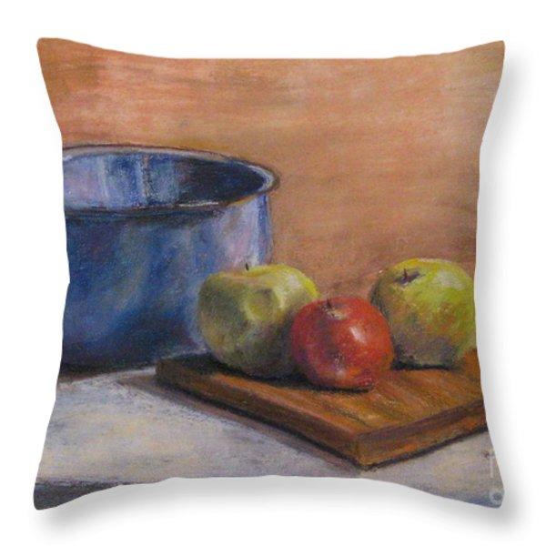 Red Apple Throw Pillow by Elizabeth  Ellis