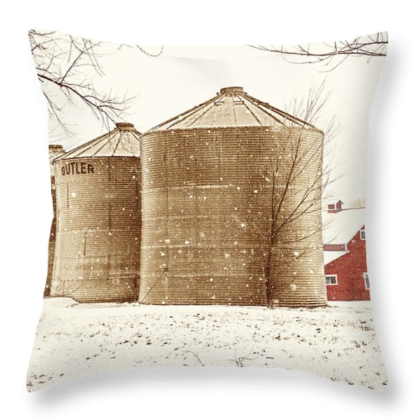 Red Barn In Snow Throw Pillow by Marilyn Hunt