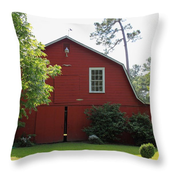 Red Barn Throw Pillow by Suzanne Gaff
