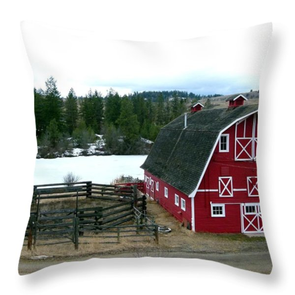 Red Barn Throw Pillow by Will Borden