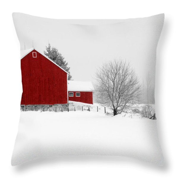 Red Barn Winter Landscape Throw Pillow by Cathy  Beharriell