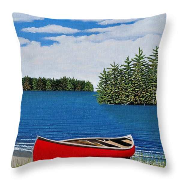 Red Canoe Throw Pillow by Kenneth M  Kirsch