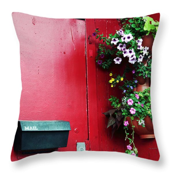 Red Door In Montreal Throw Pillow by John Rizzuto