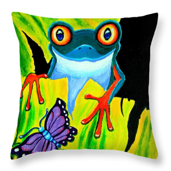 Red Eyed Tree Frog and Purple Butterfly Throw Pillow by Nick Gustafson
