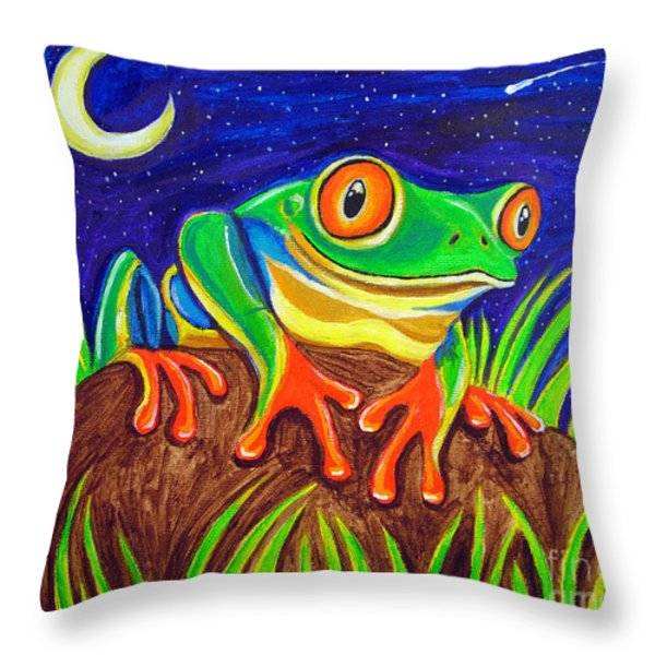 Red-eyed Tree Frog And Starry Night Throw Pillow by Nick Gustafson