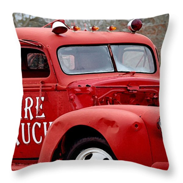 Red Fire Truck Throw Pillow by Michael Thomas