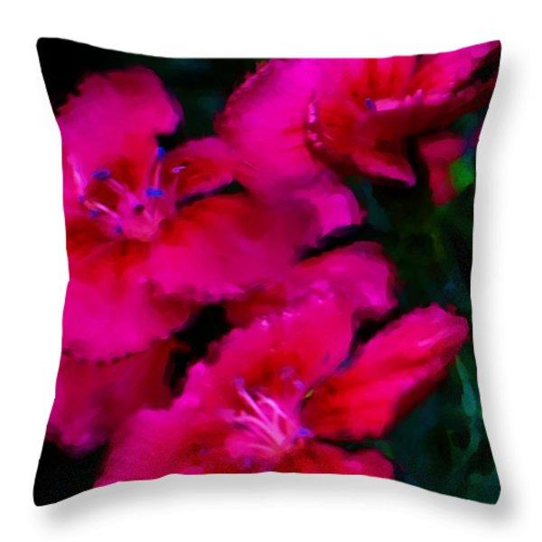 Red Floral Study Throw Pillow by David Lane