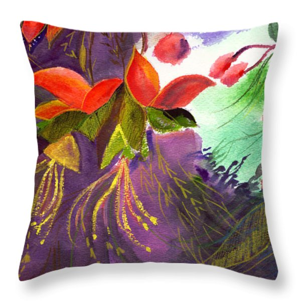 Red Flowers Throw Pillow by Anil Nene