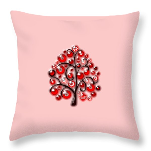 Red Glass Ornaments Throw Pillow by Anastasiya Malakhova