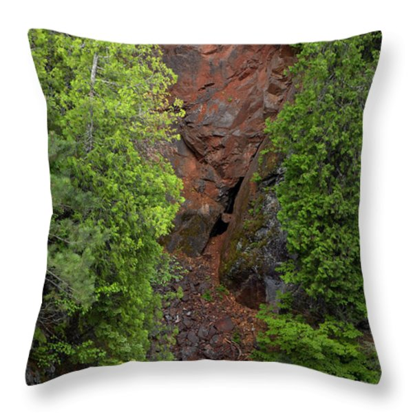 Red Gorge with Cedar Trees Throw Pillow by Cynthia Dickinson