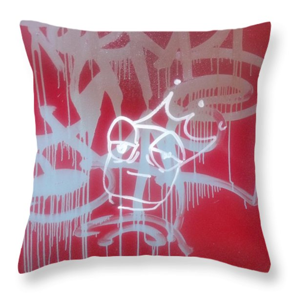 Red Graffiti Throw Pillow by Anna Villarreal Garbis