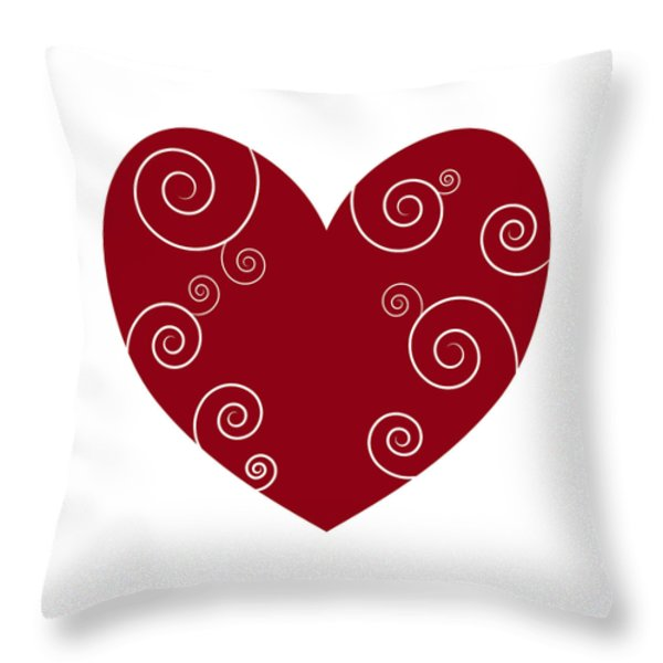 Red Heart Throw Pillow by Frank Tschakert