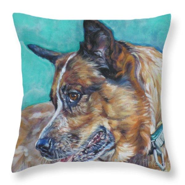 Red Heeler Australian Cattle Dog Throw Pillow by Lee Ann Shepard