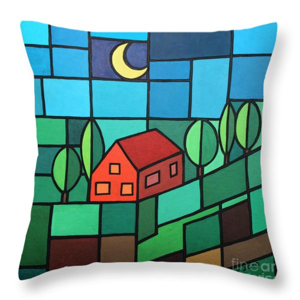 Red House Amidst The Greenery Throw Pillow by Jutta Maria Pusl