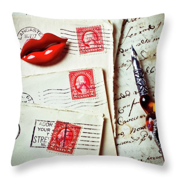 Red Lips Pin And Old Letters Throw Pillow by Garry Gay