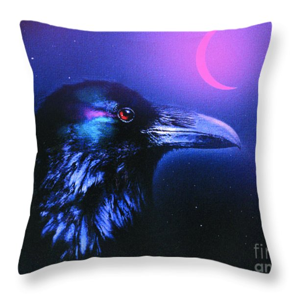 Red Moon Raven Throw Pillow by Robert Foster