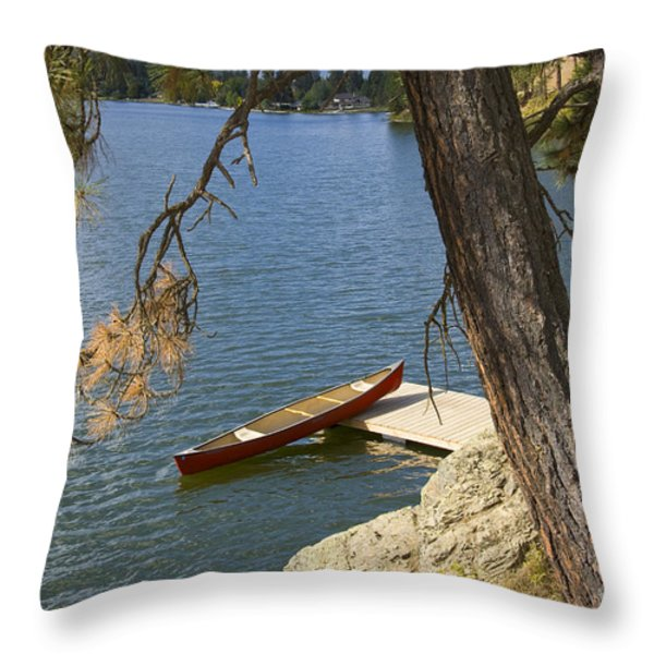 Red On Blue Throw Pillow by Idaho Scenic Images Linda Lantzy