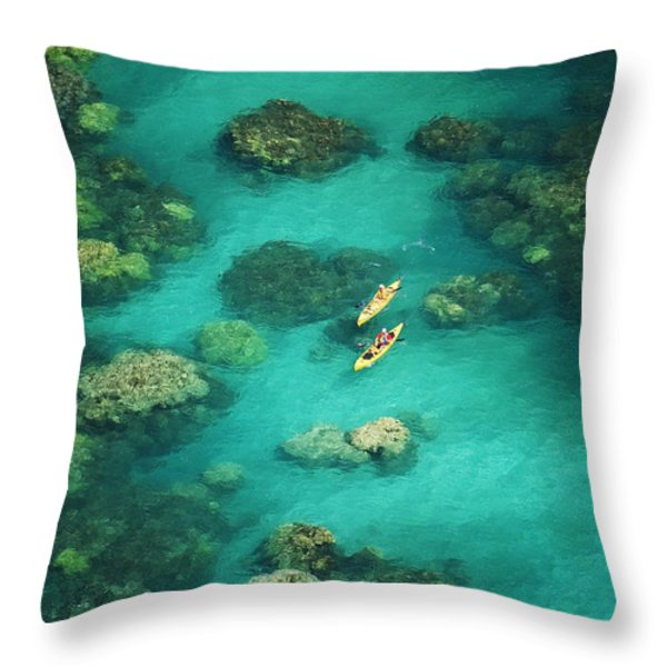 Red Outrigger Canoe Throw Pillow by Ron Dahlquist - Printscapes