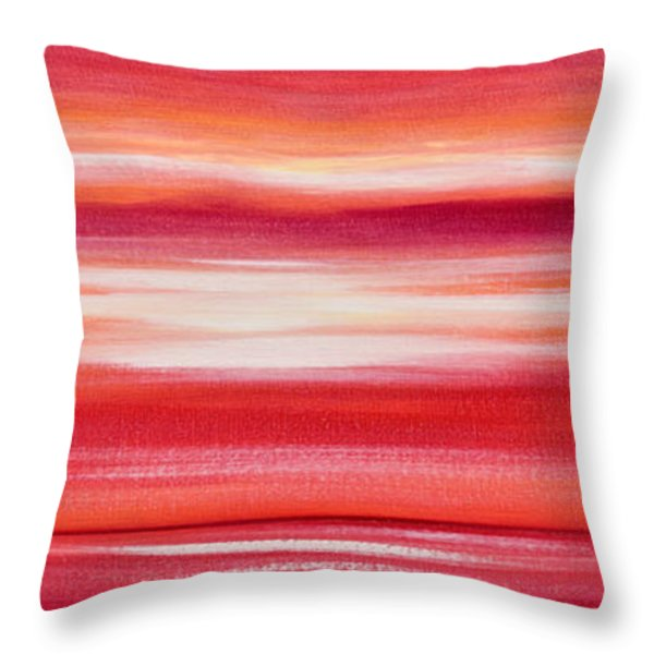 Throw Pillows - Red Panoramic Abstract Sunset Throw Pillow by Gina De Gorna