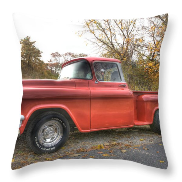 Red Pick-up Throw Pillow by Steve Gravano