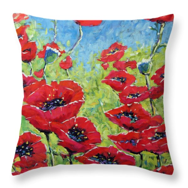 Red Poppies By Prankearts Throw Pillow by Richard T Pranke