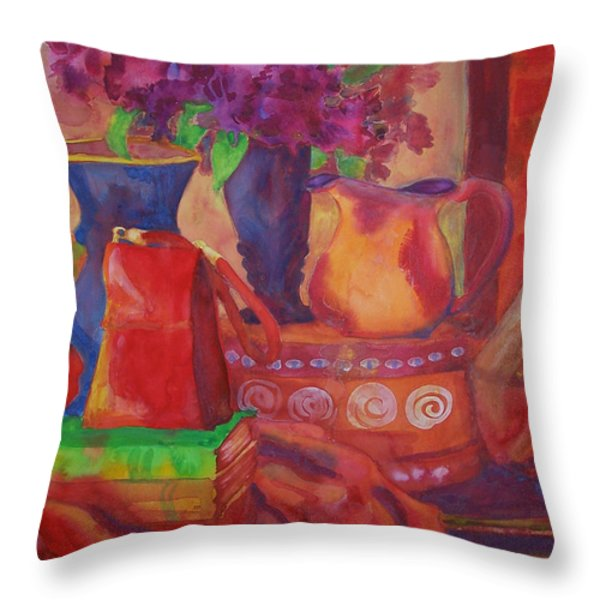 Red Purse On Green Book Throw Pillow by Blenda Studio