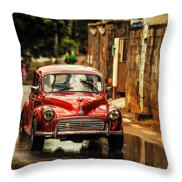 Red RetroMobile. Morris Minor Throw Pillow by Jenny Rainbow