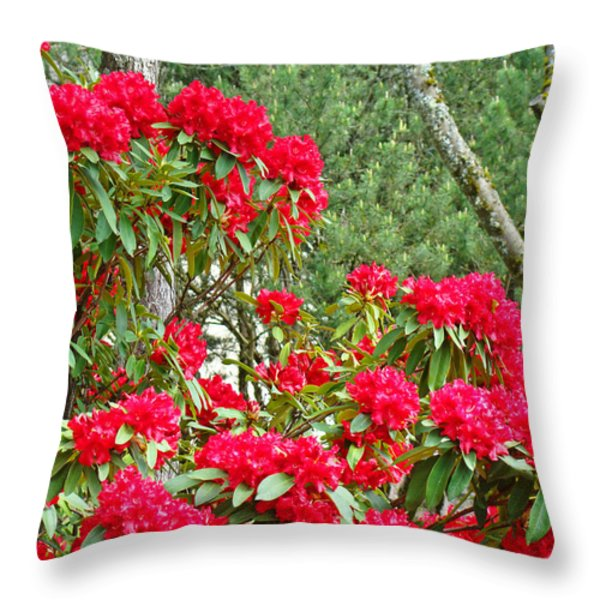 Red Rhododendron Garden Art Prints Rhodies Landscape Baslee Troutman Throw Pillow by Baslee Troutman