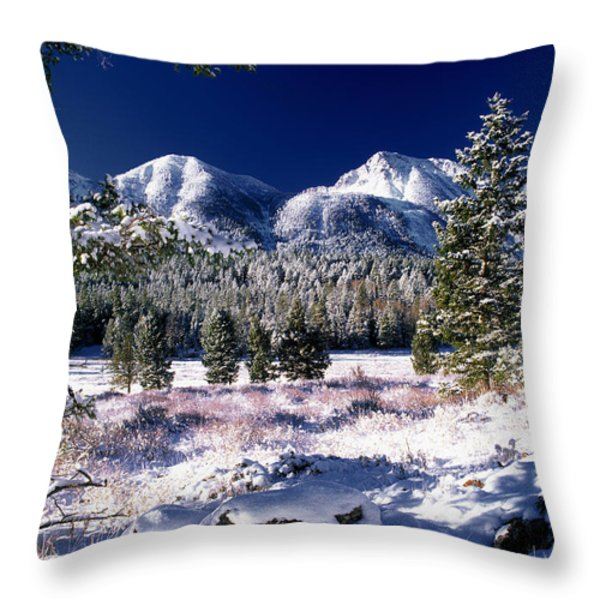 Red Rock Pass Winter Throw Pillow by Leland D Howard