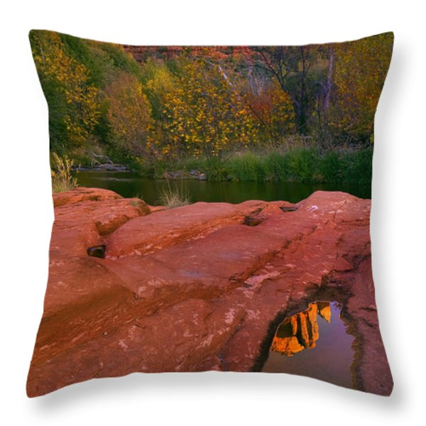 Red Rock Reflection Throw Pillow by Mike  Dawson