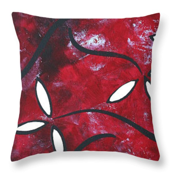 Red Roses 1 By Madart Throw Pillow by Megan Duncanson