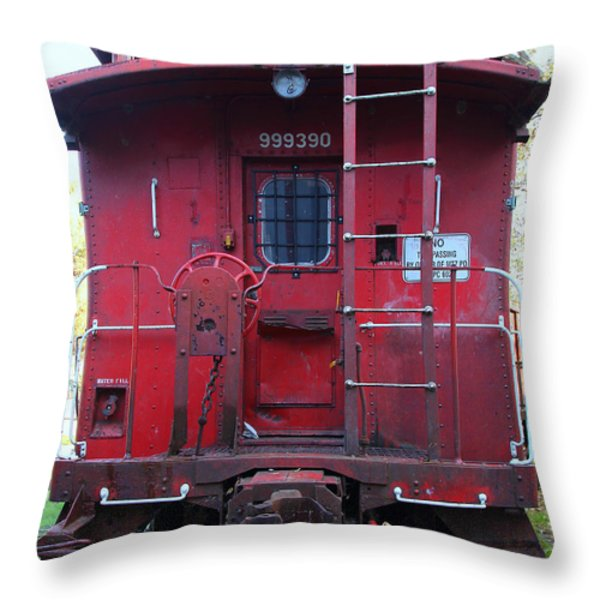 Red Sante Fe Caboose Train . 7D10476 Throw Pillow by Wingsdomain Art and Photography
