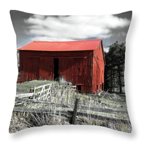 Red Shack Landscape Throw Pillow by Joan  Minchak