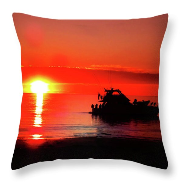 Red Silhouette Throw Pillow by Douglas Barnard