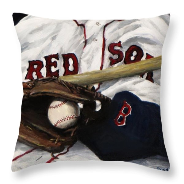 Red Sox Number Nine Throw Pillow by Jack Skinner