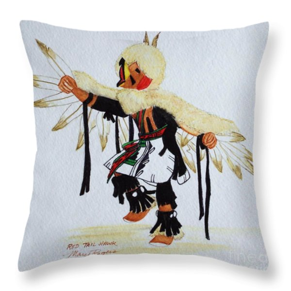 Red Tail Hawk Throw Pillow by Mary Rogers