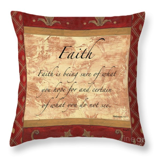 Red Traditional Faith Throw Pillow by Debbie DeWitt