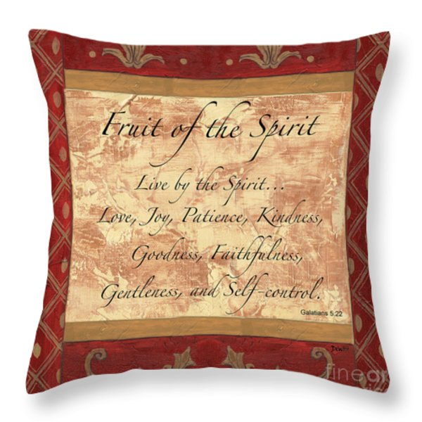 Red Traditional Fruit of the Spirit Throw Pillow by Debbie DeWitt