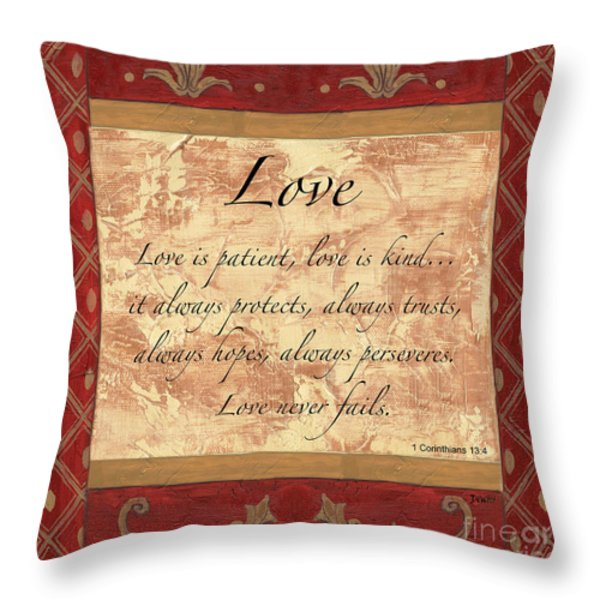 Red Traditional Love Throw Pillow by Debbie DeWitt