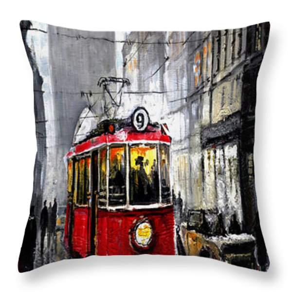 Red Tram Throw Pillow by Yuriy  Shevchuk