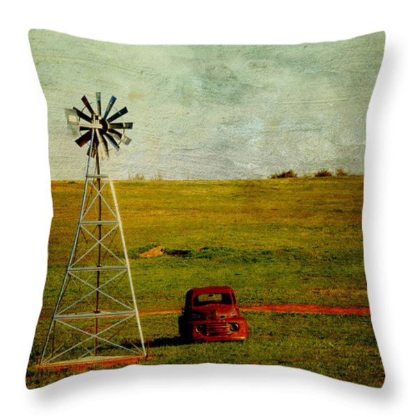 Red Truck Red Dirt Throw Pillow by Toni Hopper
