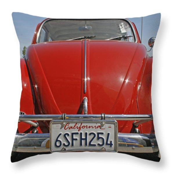 Red Volkswagen Beetle Throw Pillow by Nomad Art And  Design