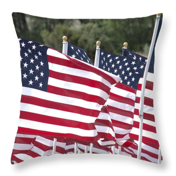 Red White And Blue Throw Pillow by Jerry McElroy