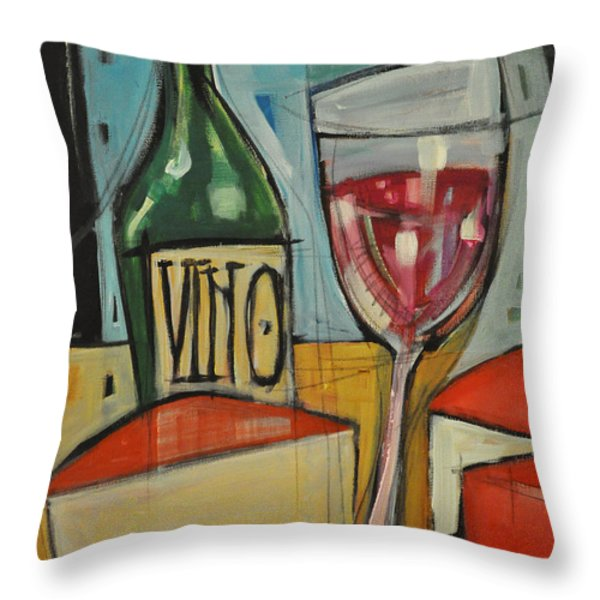 red wine and cheese Throw Pillow by Tim Nyberg