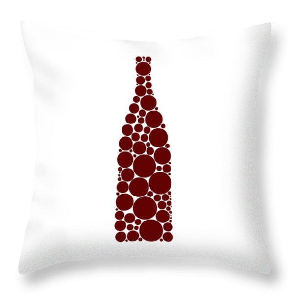 Red Wine Bottle Throw Pillow by Frank Tschakert