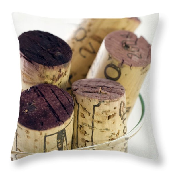 Red Wine Corks Throw Pillow by Frank Tschakert