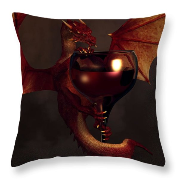 Red Wine Dragon Throw Pillow by Daniel Eskridge
